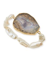 Panacea - Natural Agate & Mother-Of-Pearl Stretch Bracelet - Lyst