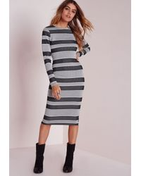 Missguided | Gray Long Sleeve Midi Dress Grey Stripe | Lyst