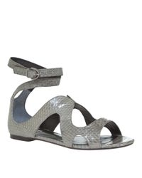 Leon Max - Gray Coral - Flat Snakeskin Sandals - Lyst