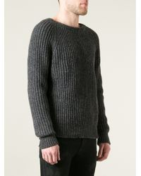 Saint Laurent | Gray Ribbed Sweater for Men | Lyst