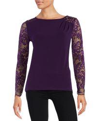 Ivanka Trump - Purple Lace Sleeve Blouse - Lyst