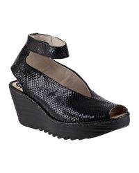 Fly London | Yala Wedge Sandal Black Snake | Lyst