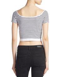 Jessica Simpson   White Striped Crop Top   Lyst