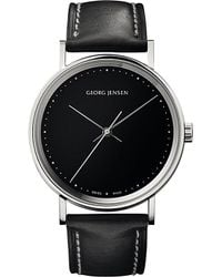 Georg Jensen - Gray Koppel Stainless Steel And Leather Watch 38mm - Lyst