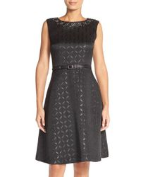 Ellen Tracy | Black Geometric Jacquard Fit & Flare Dress | Lyst