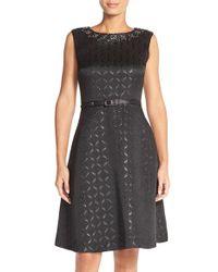 Ellen Tracy - Black Geometric Jacquard Fit & Flare Dress - Lyst