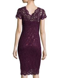 Marina - Purple Sleeveless Tie-Waist Lace Cocktail Dress - Lyst