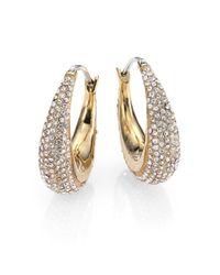Michael Kors - Metallic Brilliance Statement Pavé Goldtone Huggie Hoop Earrings/0.9 - Lyst