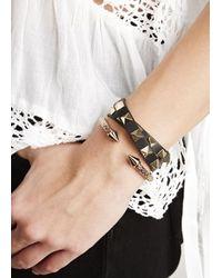 Valentino | Rockstud Black Leather Wrap Bracelet | Lyst