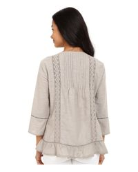 Dylan By True Grit   Gray Textured Slub Cotton Crochet And Ruffle Chemise   Lyst