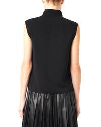 Lanvin - Black Gathered Neckline Sleeveless Blouse - Lyst