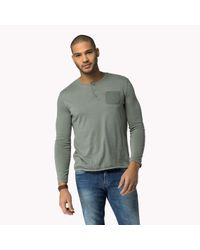 Tommy Hilfiger | Green Cotton Blend Henley for Men | Lyst