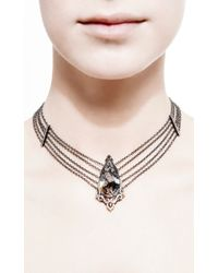 Bochic - Metallic Moss Agate Diamond and Orange Sapphire Choker - Lyst