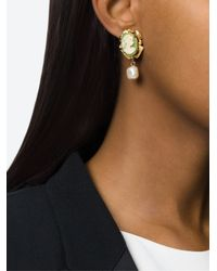 Dolce & Gabbana | Green Cameo Clip-on Earrings | Lyst