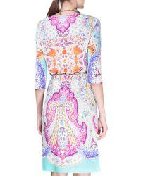 Etro - Blue Half-sleeve Paisley-print Tunic Dress - Lyst