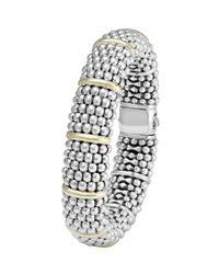 Lagos - Metallic Silver Caviar Oval Bracelet With 18k Gold - Lyst