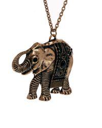 Mango | Metallic Elephant Long Pendant Necklace | Lyst
