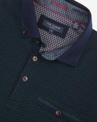 Ted Baker | Green Jacquard Polo Shirt for Men | Lyst