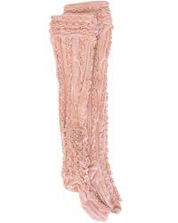 Ryan Lo | Black Thigh High Ruffle Rib Socks | Lyst