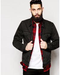 70ab8a1b9bb ASOS Denim Jacket In Slim Fit in Black for Men - Lyst