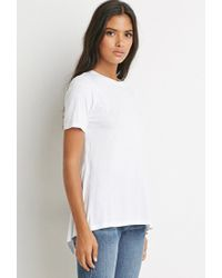 Forever 21 | White Split-back Tee | Lyst