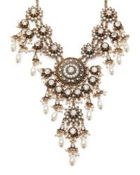 Forever 21 | Metallic Faux Pearl Rhinestone Statement Necklace | Lyst