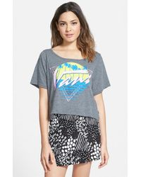Vans - Gray 'flat Paradise' Graphic Crop Tee - Lyst