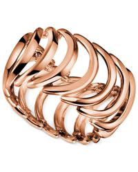 Calvin Klein - Metallic Rose Gold-tone Pvd Curved Link Ring - Lyst