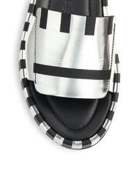 Acne Studios - Wilma Striped Metallic Leather Slides - Lyst