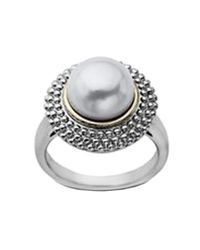 Lord & Taylor | White Sterling Silver And 14 Kt. Yellow Gold Pearl Ring | Lyst