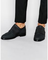 ASOS | Shoes In Black Rubber Effect Leather With Elastic Strap for Men | Lyst