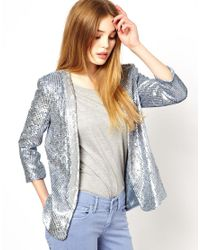 French Connection - Green Sequin Blazer - Lyst