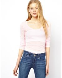 American Vintage | Pink Scoop Neck T-Shirt with Long Sleeves | Lyst