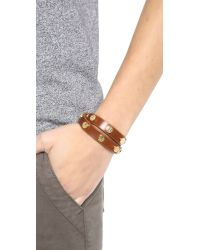 Tory Burch - Brown Double Wrap Logo Bracelet - Cuoio - Lyst