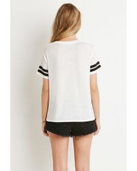 Forever 21 | Black Varsity Stripe-sleeved Tee | Lyst