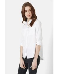 TOPSHOP - White Button Front Chambray Shirt - Lyst