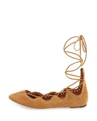 Isabel Marant - Natural Leo Suede Lace-Up Ballet Flats  - Lyst