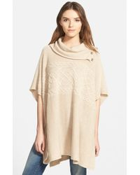 NYDJ - Natural Cable Cowl Neck Poncho - Lyst