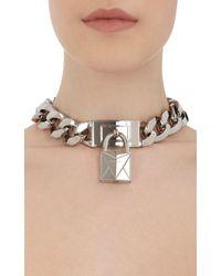 Givenchy | Metallic Lock Pendant Choker | Lyst
