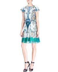 Etro - Green Floral-paisley Cap-sleeve Silk Dress - Lyst