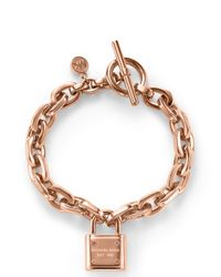 Michael Kors | Metallic Padlock Toggle Bracelet | Lyst