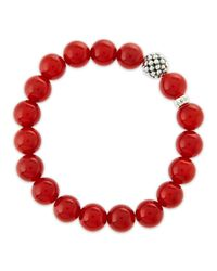 Lagos | 10mm Caviar-ball Red Agate Beaded Stretch Bracelet | Lyst