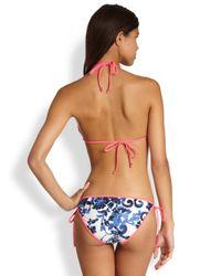 MILLY   Blue Biarritz Delft-Print String Bikini Top   Lyst
