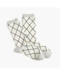 J.Crew | White Diamond Grid Trouser Socks | Lyst