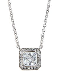 Fantasia by Deserio | White Cz Princess-cut Pendant Necklace | Lyst