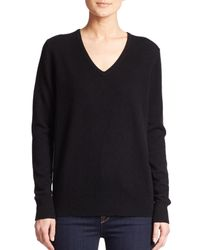 Saks Fifth Avenue - Black Cashmere V-neck Sweater - Lyst