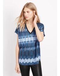 Vince - Blue Tie Dye Stripe V-neck Cocoon Tee - Lyst