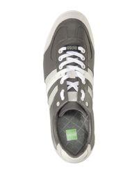 BOSS Green - Gray Sneaker Aki in Pelle Con Inserti in Velours for Men - Lyst