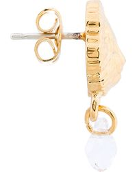 Versus - Metallic Gold Lion Medallion and Crystal Stud Earrings - Lyst