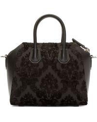 Givenchy - Black Leather And Velvet Devoree Mini Antigona Bag - Lyst
